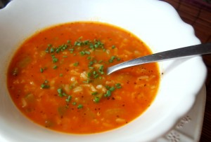 Chile, Tomato, and Rice Soup