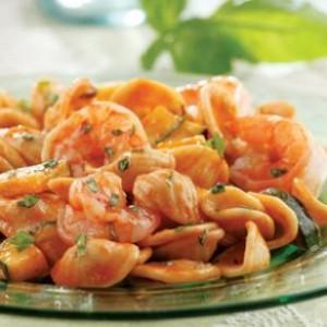 Basil, Shrimp and Zucchini Pasta